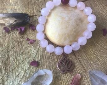 Copper Lotus, Rose Quartz, Pink, Intention, Metaphysical, Energetic, Stackable, Cancer Survivor, Boho Chic, Zen, Yoga Inspired, Fuchsia