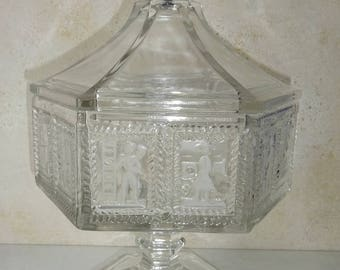 Vintage Glass Candy Dish Imperial Glass Clear Covered Candy Bowl with Lid Pedestal