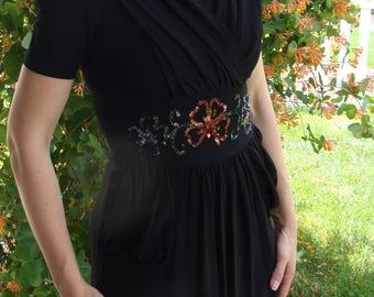1940's 40's BLACK CREPE DRESS sequins xs petite