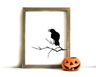 Halloween Printable Sign - Halloween Wall Art, Printable Art, Halloween, Crow, Halloween Decor, Halloween Printable Art, Instant Download