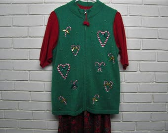 Vintage Green Christmas Sweater Vest with Candy Canes size XL P