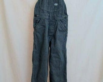Vintage Kids LEE Hickory Striped Bib Overalls Union Made sanforized U.S.A