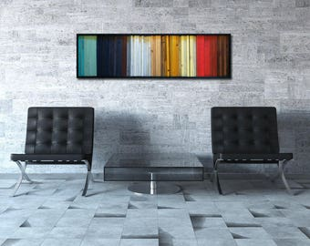 "SALE! Colorful Wood Art - Modern Wood Wall Art - ""Gradient"" - Wood Stripes in Red, Yellow, Teal - 16""x55"" - Wood Wall Art"