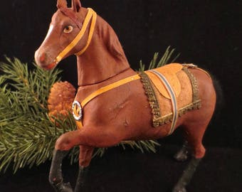 Antique German Stallion Composition Candy Container
