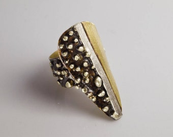 Contemporary Ring, Triangle w Irregular Balls, Mixed Metal, Metalwork, Adjustable Ring, Handmade with Order