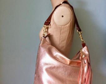 Rose gold leather bucket bag, metallic leather bucket handbag, rose gold handbag