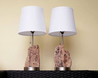 Nautical Accent Lamps, 2 pcs Pair DriftWood,  Beach Decor by SEASTYLE