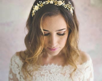 Wedding headband - bridal hair vine - flower hair crown - bride hair accessory - wedding hair jewelry - pearl headpiece - gold leaves (#347)
