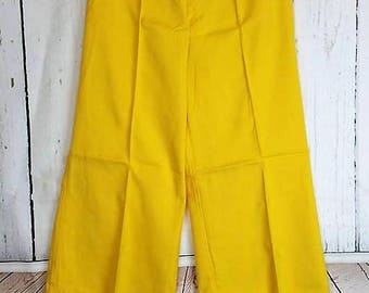 Garland 1960's High Waist Bright Yellow Wide Leg Pants Slacks Size 11/12 Hippie Bell Bottoms New Vintage Condition