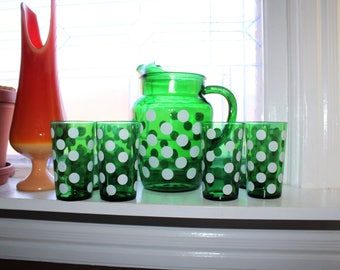 Forest Green Glass Pitcher & 7 Tumblers White Polka Dot Vintage 1950s