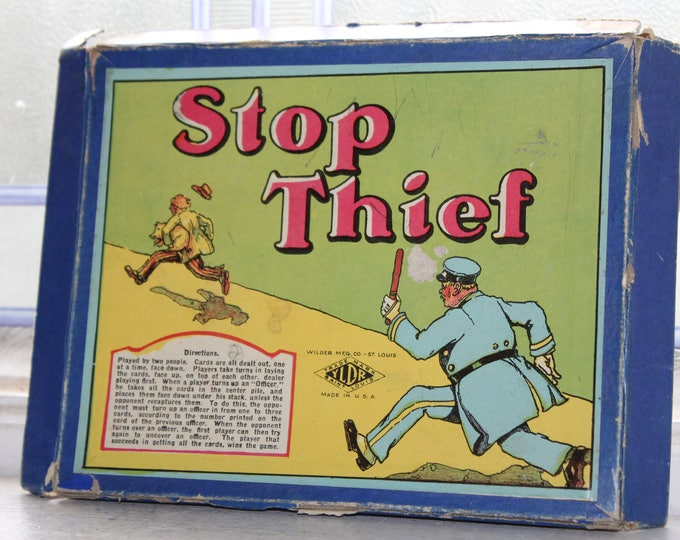 Antique Toy Card Game Stop Thief Vintage 1920s