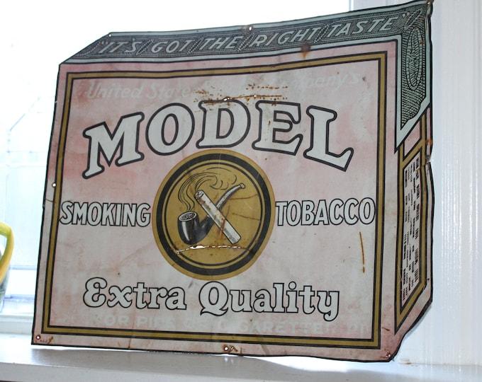 Antique Tin Sign Model Tobacco