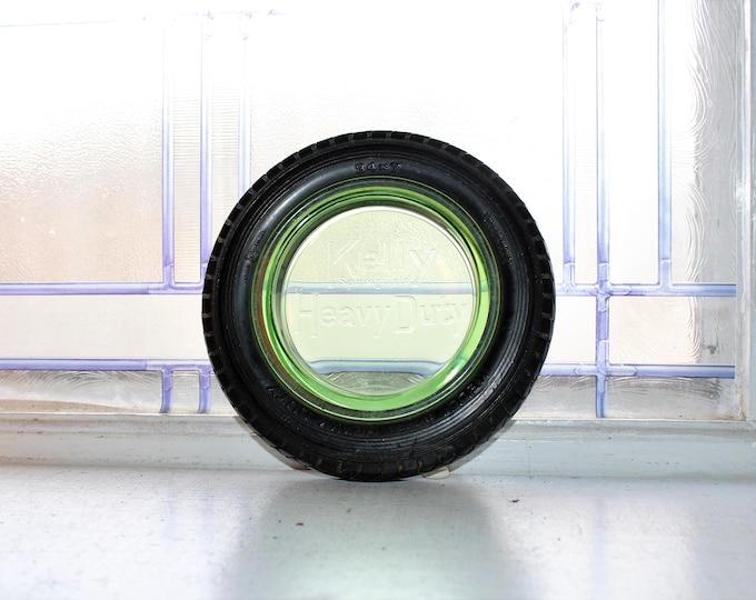 Vintage Kelly Heavy Duty Tire Ashtray Green Depression Glass Insert