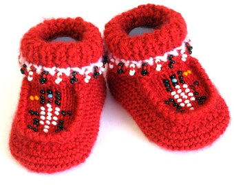 Knitted Beaded Bird Moccasin Booties