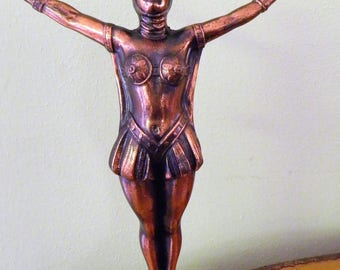 French Art Deco Antique Lady Statue, Once a Lamp