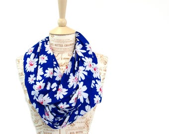 Floral Scarf, Floral Infinity Scarf, Blue Scarf, Printed Scarves, Wife Gift For Her, Blue Infinity Scarf, Boho Infinity Scarf Womens Scarf