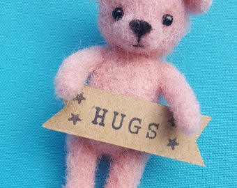 Needle Felted Tiny 'Hugs' Bear pale pink