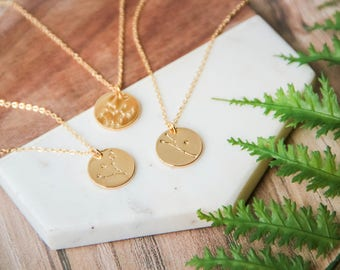 Zodiac Constellation coin pendant necklace | Dainty chain necklace | Gold layering celestial star necklace | Gifts for her under 30 |