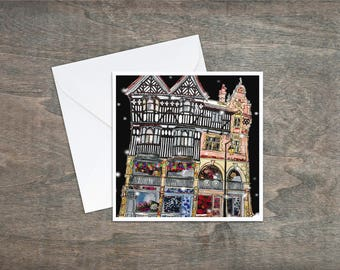 Chester at night - Art Card