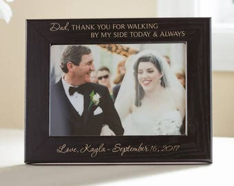 Personalized Father of the Bride Picture Frame (Black): Father of the Bride Gift, Custom Engraved Father of the Bride Gift, SHIPS FAST