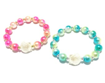 Toddler or Girls Small Beaded Shell Bracelet - Blue and Green Beach Bracelet - Hot Pink and Yellow Shell Bracelet - Girls Mermaid Bracelet