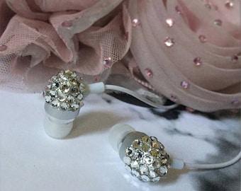 Sparkle White Diamond Swarovski Crystal Earphone Headphone Earbuds Handsree with Microphone for iPhone Any 3.5mm Plug
