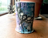 Death's Head Moth Tumbler with Blue Purple & Black on White Clay