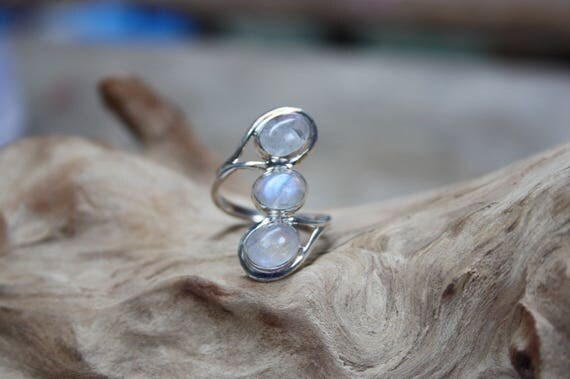 TRIPLE MOON RING - One size - Sterling silver ring - Moonstone - Moon Ring - Crystal - Gemstone - Semi Precious - Birthstone - Valentines