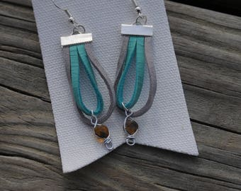 Dominican Amber Earrings on Gray & Blue