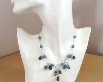 Stormy Waters UK Hallmarked Sterling Silver Wire Wrapped Bib Collar Necklace with Aquamarine and Blue Flash Labradorite Stones