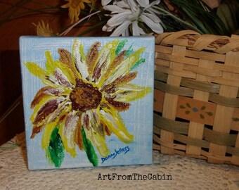 Flower Painting, Yellow Painting, Acrylic Art, Canvas Art, 4x4 inch Art, Blue and Yellow, Yellow Flower, Original Art, ArtFromTheCabin
