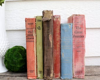 Set of 6 Vintage Books - Antique Book Decor - Photo Props -Wedding Decor- Earth Tones - Rustic Books - French Country - Old World - Travel
