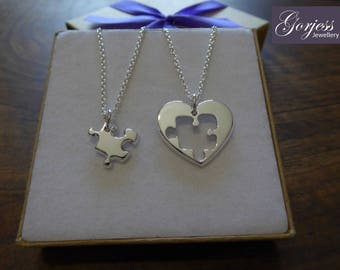 Best Friend Puzzle and Heart (THICKER) Necklace Pendants