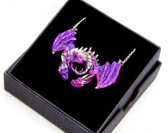 Purple/Pink Dragon Embrace Pewter Pendant
