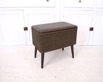retro 70s furniture. vintage 60s 70s brown retro mid century modern storage bench cushion seating sewing basket bin furniture t