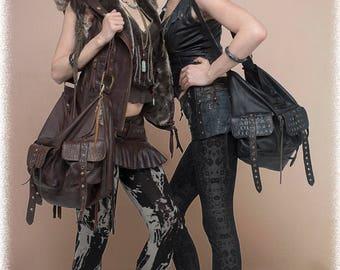 Black leather steampunk bag Black leather handbag Black leather Purse Large leather bag