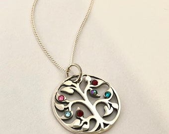 Family Tree Sterling Silver Birthstone necklace/ Mothers Day Personalized/Great Gift for Mom