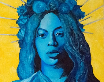 Acrylic Painting Beyonce Flower Crown Baby Announcement