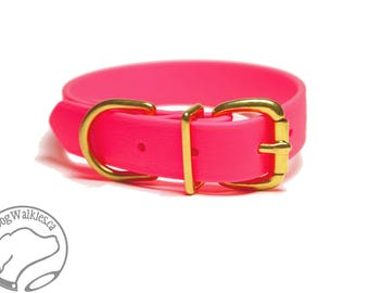 "Biothane Dog Collar / Neon Pink 1"" (25mm)Wide  - Leather Look and Feel - Custom Dog Collar - Choice of Size and Hardware Type"
