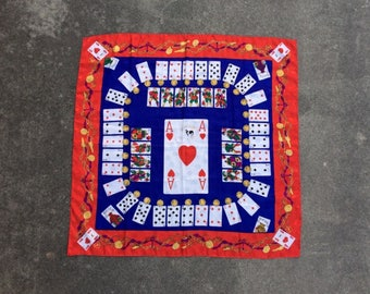 Haute Flush -- Large designer silk scarf festooned with playing cards and related artifice -- Moschino Couture
