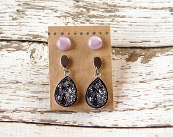 Lilac Earring Set - Stud and Drop Druzy