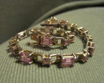 Vintage pink topaz bracelet.  Baguette cut.  925 sterling silver.