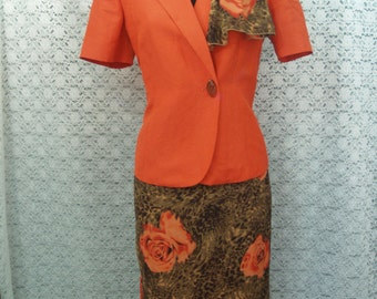 Size 8 ORANGE Suit skirt and blazer SET Flower print and scarf to match,3 piece, Leopard Swirl and Flowers, Orange & Brown Skirt Set w scarf