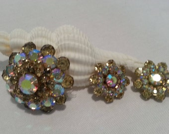 Mid-Century Weiss Brooch and Clip Earrings Set