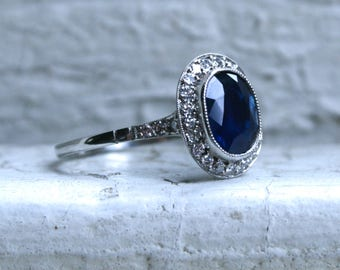 Beautiful Vintage 14K White Gold Pave Diamond and Sapphire Halo Ring - 2.04ct.