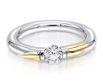 """The Almani """"Danielle"""" Ring 18K Gold Two Tone Ring 3.5mm Wide 0.50ctw."""