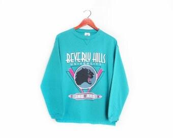 vintage sweatshirt / Beverly Hills / 90s sportswear / 1990s Beverly Hills University souvenir sweatshirt Medium