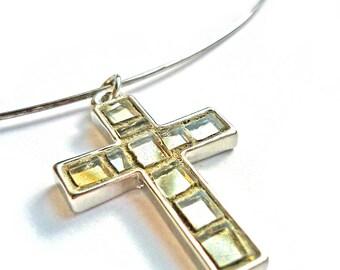 Choker with mosaic cross pendant, mosaic jewel