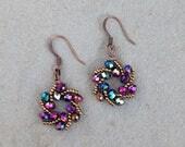 Galaxy Earrings in Phoenix - Rainbow Star Earrings - Gold Crystal Statement Earrings - Sci-fi Earrings - Space Fantasy - Galactic Jewelry
