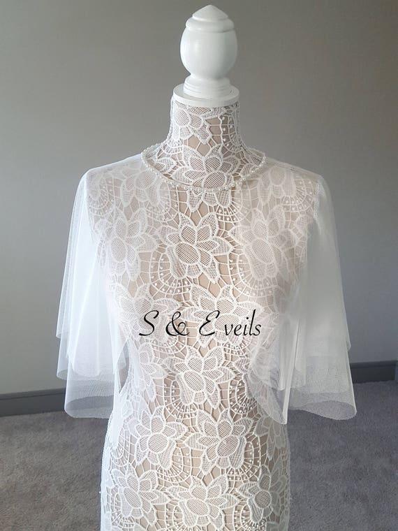 Wedding Cape with Pearl neckline
